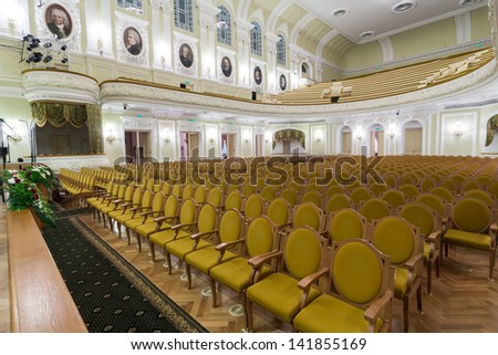 MOSCOW - OCT 4: Hall of the Moscow Tchaikovsky Conservatory (view from the scene) on October 4, 2012 in Moscow, Russia. - stock photo