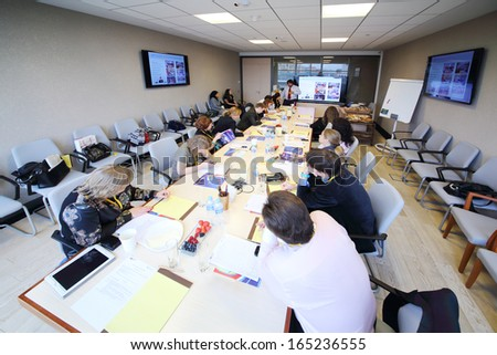 MOSCOW - OCT 10: The seminar in the conference room at the Otkritie Financial Corporation, on October 10, 2013 in Moscow, Russia. - stock photo