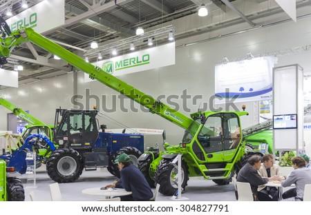 MOSCOW- OCTOBER 11, 2012: Agricultural machines of the Italian company MERLO at the International Trade Fair AGROSALON