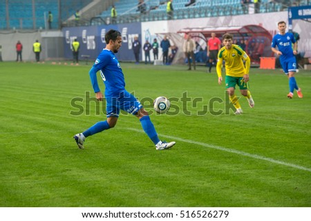MOSCOW - OCTOBER 8, 2016: Alexander Zotov (10) on the soccer game Russian National Football League Dynamo (Moscow) vs Kuban (Krasnodar), the stadium Arena Khimki Moscow, Russia. Dinamo won 1: 0