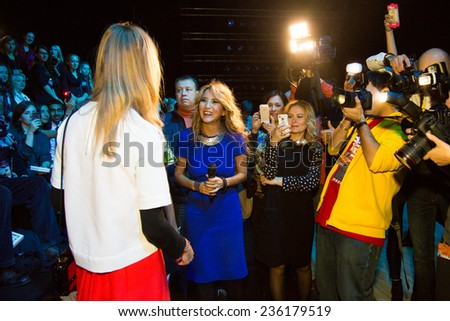 MOSCOW - OCTOBER 23: Famous  Model Natalia Vodianova. Mercedes-Benz Fashion Week Russia on October 23, 2014 in Moscow, Russia. - stock photo