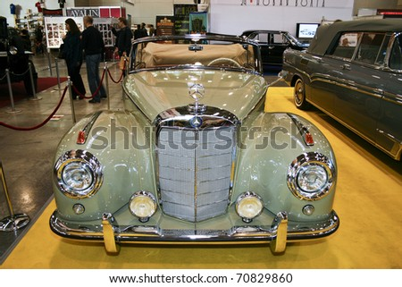 MOSCOW - OCTOBER 08: Mercedes-Benz 300S Roadster 1951 at the Moscow Exhibition of technical antiques on October 08, 2010 in Moscow, Russia. - stock photo