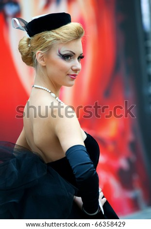 "MOSCOW - OCTOBER 3: Model at show ""World of Beauty"" on October 3, 2010 in Moscow."