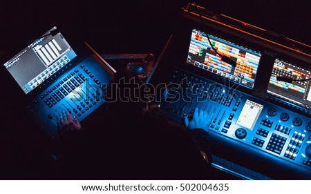 lighting technician. moscow 20 october2016 professional concert sound and stage lighting technician at work 0