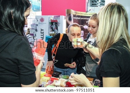 MOSCOW - OCTOBER 26: Sale of fruit soap at the international exhibition of professional cosmetics and beauty salon equipment INTERCHARM on October 26, 2011 in Moscow