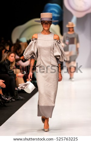 MOSCOW - OCTOBER 17:The model walks a runway in a collection of Igor Gulyaev, Spring/Summer 2017.MERCEDES-BENZ FASHION WEEK RUSSIA. 17 October 2016, Moscow, Russia.