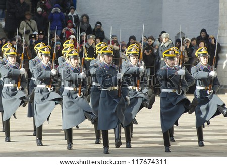 MOSCOW - OCTOBER 27: Unidentified guards of President Putin squad marching out in parade of change on October 27, 2012, in Moscow, Russia - stock photo