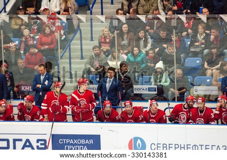 MOSCOW - OCTOBER 17, 2015: Vityaz team and head coach Oleg Orekhovsky during hockey game Vityaz vs Barys on Russia KHL championship on October 17, 2015, in Moscow, Russia. Vityaz won 4:3 - stock photo