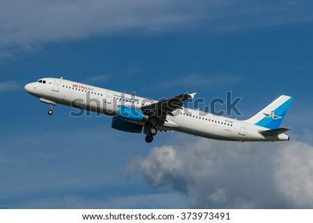 Moscow region, Domodedovo, Russia - August 18, 2013: Airbus A321 Metrojet (Kolavia) EI-FBH take off at Domodedovo international airport