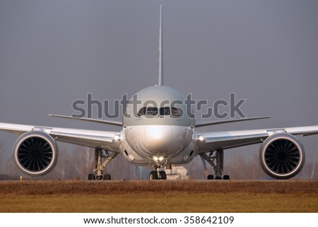 Moscow region, Domodedovo, Russia - November 04, 2014: Boeing 787-8 Dreamliner A7-BCG Qatar Airways taxiing for take off at Domodedovo International airport. - stock photo