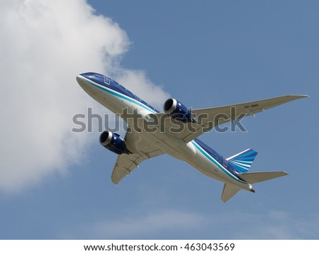 Moscow region - 31 July 2016: passenger airplane Boeing 757-8 AZAL Azerbaijan Airlines flies to Moscow's Domodedovo airport July 31, 2016, Moscow Region, Russia