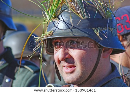 MOSCOW REGION - OCTOBER 13: Portrait of a reenactor dressed as WW II German soldier on October 13, 2013 in Borodino, Moscow Region, Russia. ?e is reenacting the Moscow battle held in 1941.