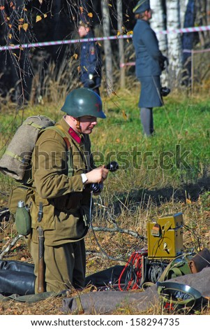 MOSCOW REGION - OCTOBER 13: Portrait of a reenactor dressed as WW II soldier on October 13, 2013 in Borodino, Moscow Region, Russia. The battle he is reenacting was the Moscow Battle held in 1941.