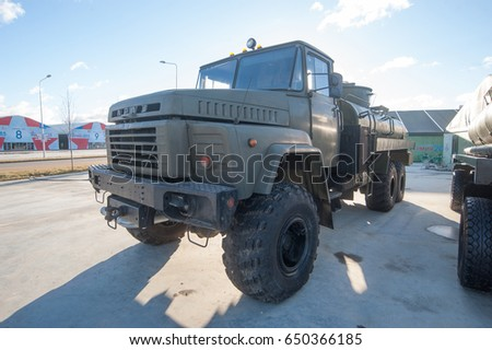 "MOSCOW REGION, RUSSIA - DECEMBER 8, 2015 : Soviet tanker AC-10-260 based all-wheel drive vehicle KrAZ-260 in the new Russian military Park ""Patriot"", front view"