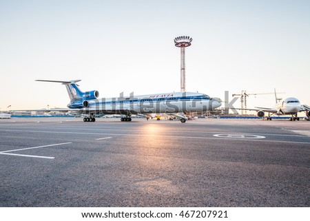 MOSCOW REGION, RUSSIA - JULY 21, 2016: Tupolev Tu-154M Belavia airlines ready for take off from Domodedovo International Airport in the evening.