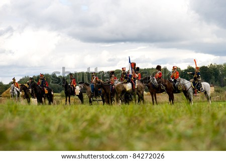 MOSCOW REGION, RUSSIA - SEPTEMBER 05: Reenactment of the Borodino battle between Russian and French armies in 1812. soldiers of Napoleon's army. Borodino, Russia, September 05, 2011