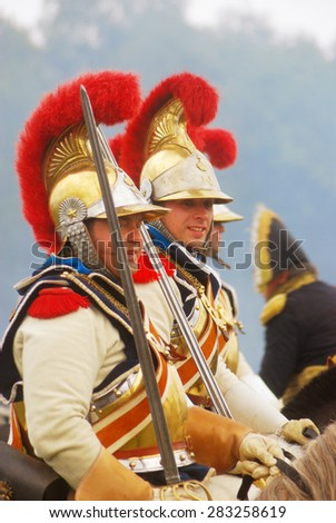 MOSCOW REGION - SEPTEMBER 02, 2012: Unknown soldiers at Borodino historical reenactment battle at its 200th anniversary.