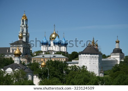 MOSCOW REGION, SERGIYEV POSAD, RUSSIA - MAY 31, 2009: Trinity Lavra of St. Sergius - the largest Orthodox male monastery in Russia - stock photo