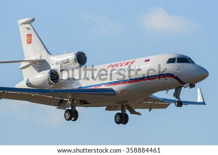 Moscow region, Vnukovo, Russia - October 24, 2014: Dassault Falcon 7X RA-09009 of the Russia State Transport Company landing at International Vnukovo airport