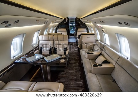 Moscow region, Vnukovo, Russia - September 09, 2016: The interior of private jet Bombardier CL-600 Challenger 650 C-GZKL shown during Jetexpo-2016 at Vnukovo international airport.