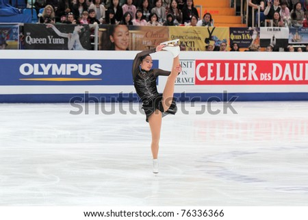MOSCOW, RUSSIA - APR 30: World championship on figure skating 2011. Miki Ando - performance of the golden medallist in single ladies free figure skating on April 30, 2011 in Moscow. - stock photo