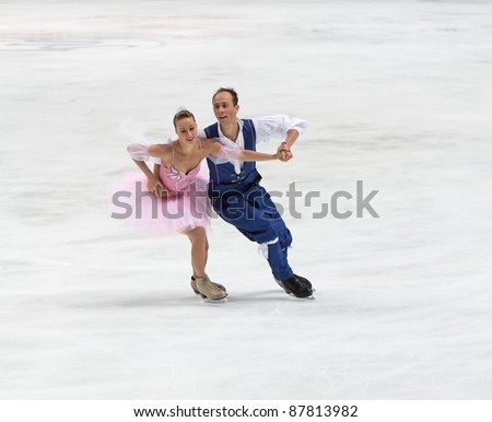 "MOSCOW, RUSSIA - APR 30: World championship on figure skating 2011. Nelli Zhiganshina and Alexander Gazsi in pair ice dance. Palace of sports ""Megasport"" on April 30, 2011 in Moscow. - stock photo"