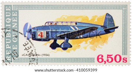 "MOSCOW, RUSSIA - APRIL 17, 2016: A stamp printed in Guinea shows old aircraft Caudron (1934), series ""Aviation History"", circa 1979 - stock photo"