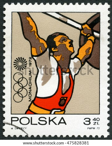 MOSCOW, RUSSIA - APRIL 28, 2015: A stamp printed in Poland shows Weight lifting, Olympic Rings and Motion Symbol, series 20th Olympic Games, Munich, 1971