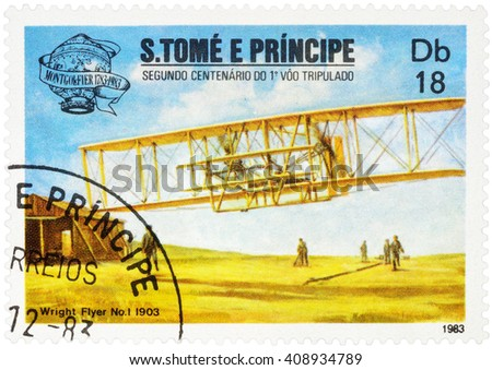 "MOSCOW, RUSSIA - APRIL 14, 2016: A stamp printed in Sao Tome and Principe shows aircraft first flight of the Wright brothers (1903), series ""The 200th Anniversary of Aviation"", circa 1983"