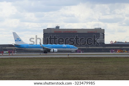 MOSCOW, RUSSIA - APRIL 15, 2015: Aircraft Boeing 737-800 (PH-BGA) Airline KLM Royal Dutch Airlines landed at Sheremetyevo airport