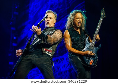 MOSCOW, RUSSIA - APRIL 24, 2010 - American rock band Metallica performing live at Olimpiysky stadium on April 24, 2010 in Moscow, Russia - stock photo