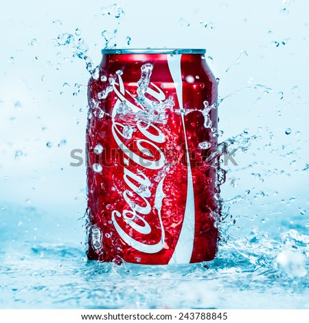 MOSCOW, RUSSIA-APRIL 4, 2014: Can of Coca-Cola in water. Coca-Cola is a carbonated soft drink sold in stores, restaurants, and vending machines throughout the world. - stock photo