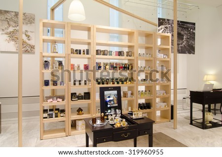 MOSCOW, RUSSIA - April 11, 2012 - Parfume corner in large shopping centre downtown Moscow - stock photo