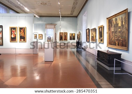 MOSCOW, RUSSIA  -  APRIL 08, 2015: Pushkin Museum - one of the largest and most significant Russian museums of European and world art. Hall the art of Germany and the Netherlands XV - XVI centuries  - stock photo