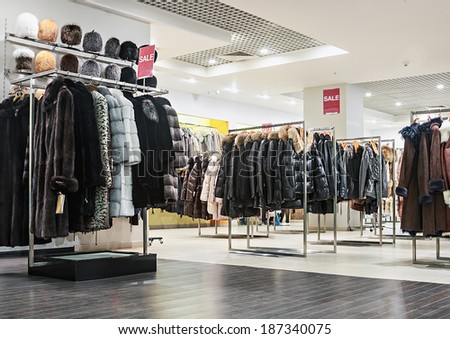 "Moscow, Russia - April 13, 2014: Shop outerwear ""Snow Queen"" in Moscow. ""Snow Queen"" - Russia's largest network of multi fashion stores. The first store of the company was held in Moscow in 1998."