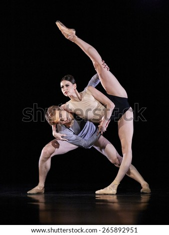 MOSCOW, RUSSIA - April 1: Show of Mariinsky theater ballet during Golden Mask contest. April 1, 2015 in Moscow, Russia - stock photo