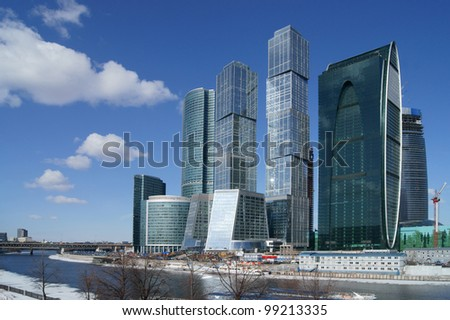 MOSCOW,RUSSIA-APRIL 2:Skyscrapers of the MIBC on April 2,2012 in Moscow,Russia.The total cost of the project is estimated at $12 billion.MIBC is the 100 hectare development area