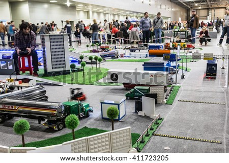 Moscow, Russia - April 16, 2016: 8th International exhibition Moscow Hobby Expo in Moscow. Exhibition of radio controlled models, boats, locomotives, cars, etc