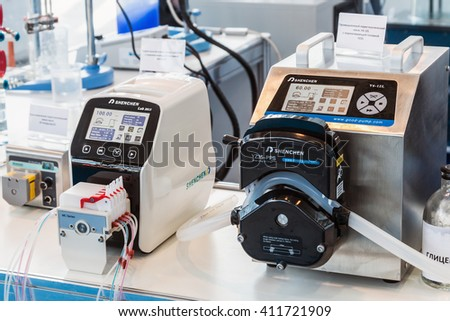 MOSCOW, RUSSIA - April 12, 2016: 14th International Exhibition of laboratory equipment and chemical reagents in Moscow. Medical equipment at the exhibition