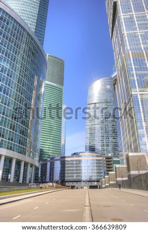 MOSCOW, RUSSIA - April 08.2014: Towers of modern international exhibition complex Moscow-City