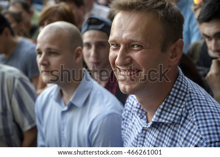 MOSCOW, RUSSIA - AUG 09, 2016: Russian opposition leader Alexey Navalny participates opposition rally in central park Sokolniki in Moscow, Russia