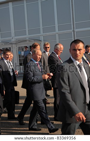 MOSCOW, RUSSIA - AUG 17: Vladimir Putin, Russian Prime Minister at the International Aviation and Space salon MAKS. Aug,17, 2011 at Zhukovsky, Russia - stock photo