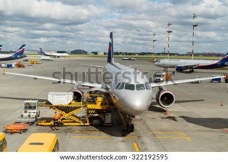 MOSCOW, RUSSIA - AUGUST 23, 2015: Aeroflot aircraft docked in Sheremetyevo airport. Aeroflot is the flag carrier and largest airline of the Russian Federation