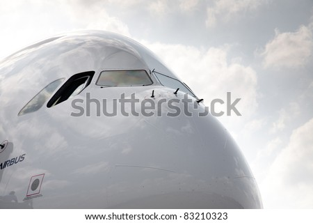 MOSCOW, RUSSIA, AUGUST,16: AIRBUS A380 at the International Aviation and Space salon MAKS 2011. August 16, 2011 at Zhukovsky, Russia - stock photo