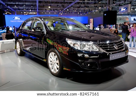 MOSCOW, RUSSIA - AUGUST 25:  Black Renault Latitude on display at Moscow International exhibition InterAuto on August 25, 2010 in Moscow, Russia. - stock photo