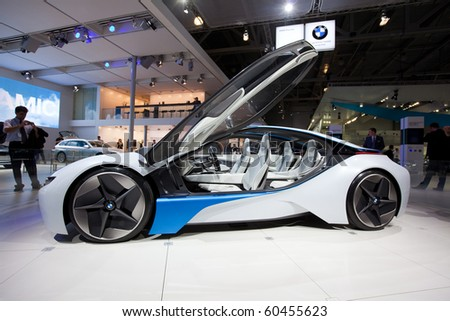 MOSCOW, RUSSIA - AUGUST 26: BMW Vision Efficient Dynamics Concept on 26 August 2010, Moscow, Russia. Will be on sale (in limited edition) in 2012 - stock photo
