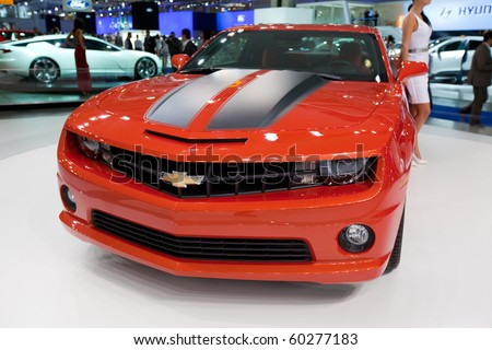 MOSCOW, RUSSIA - AUGUST 26: Chevrolet Camaro is presented on 26 August 2010, Moscow, Russia. Moscow International Autosalon is the largest in Eastern Europe - stock photo