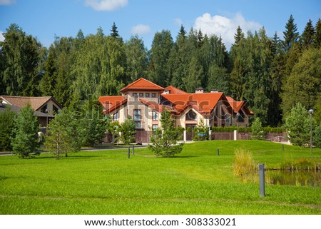 MOSCOW, RUSSIA - AUGUST 6, 2015: Elite cottage settlement in the Moscow region - stock photo