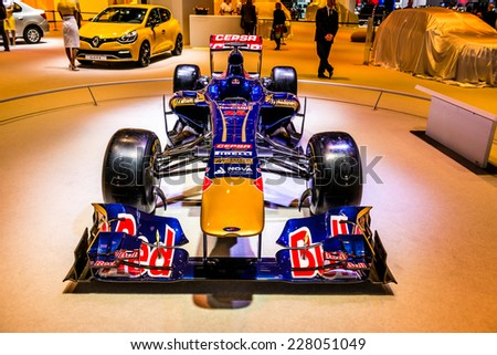 MOSCOW, RUSSIA - August 26: Formula 1 Red Bull Toro Rosso Team at MIAS 2014 in Moscow, 26 August 2014 - stock photo