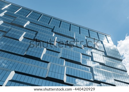 Moscow, Russia - August 16, 2015: Fragment of modern architecture, walls made of glass and concrete. - stock photo